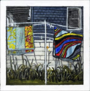 painting of beach towels drying on a clothes line in Sea Isle City, NJ