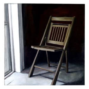 painting of a chair next to a window