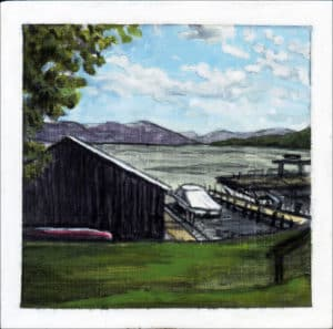 painting of boats on Lake George in upstate New York
