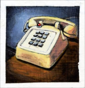 painting of a landline telephone