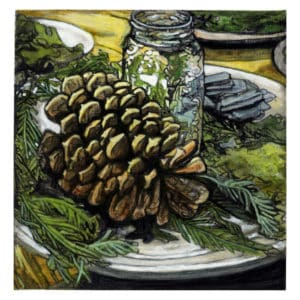 painting of a pine cone and mason jar arrangement at a wedding