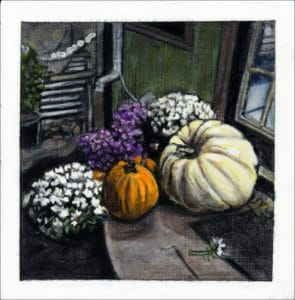 painting of pumpkins and mums