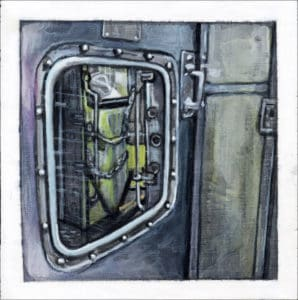 painting of a door on the Broad Street subway line in Philadelphia