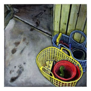 painting of beach toys in colorful baskets