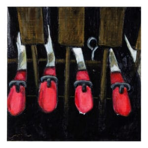 painting of the hammers inside a Cunningham Piano
